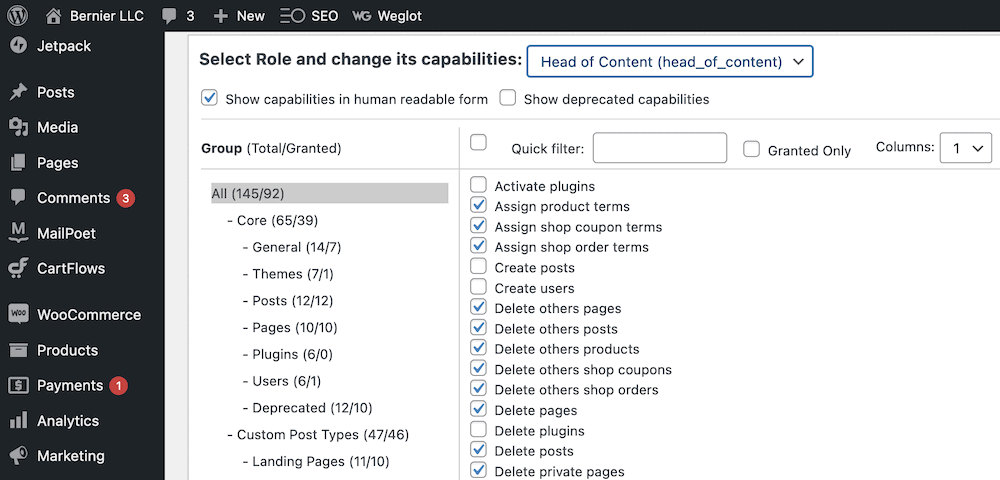 Showing the list of capabilities in human-readable form.