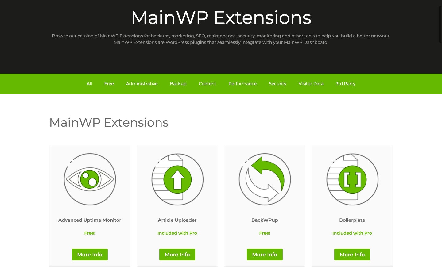 MainWP extensions