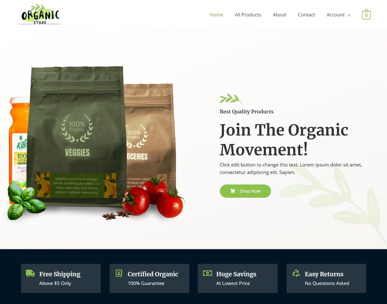Organic Store demo