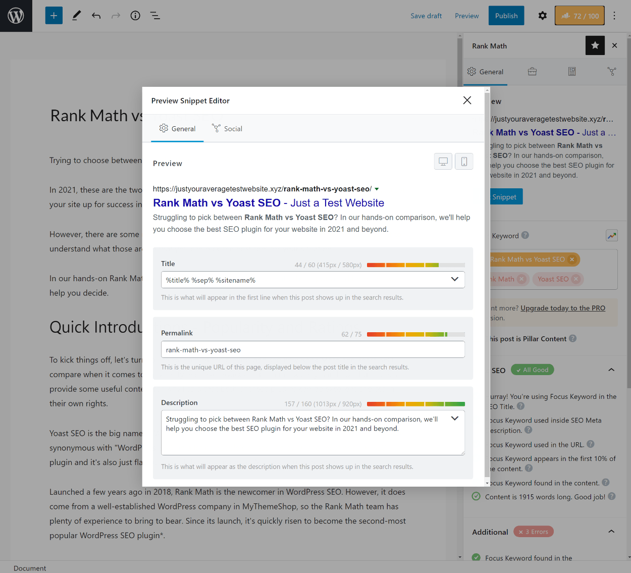 Rank Math snippet editor