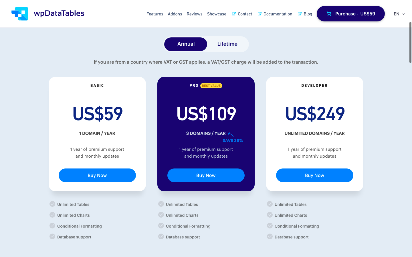 wpDataTables pricing plans