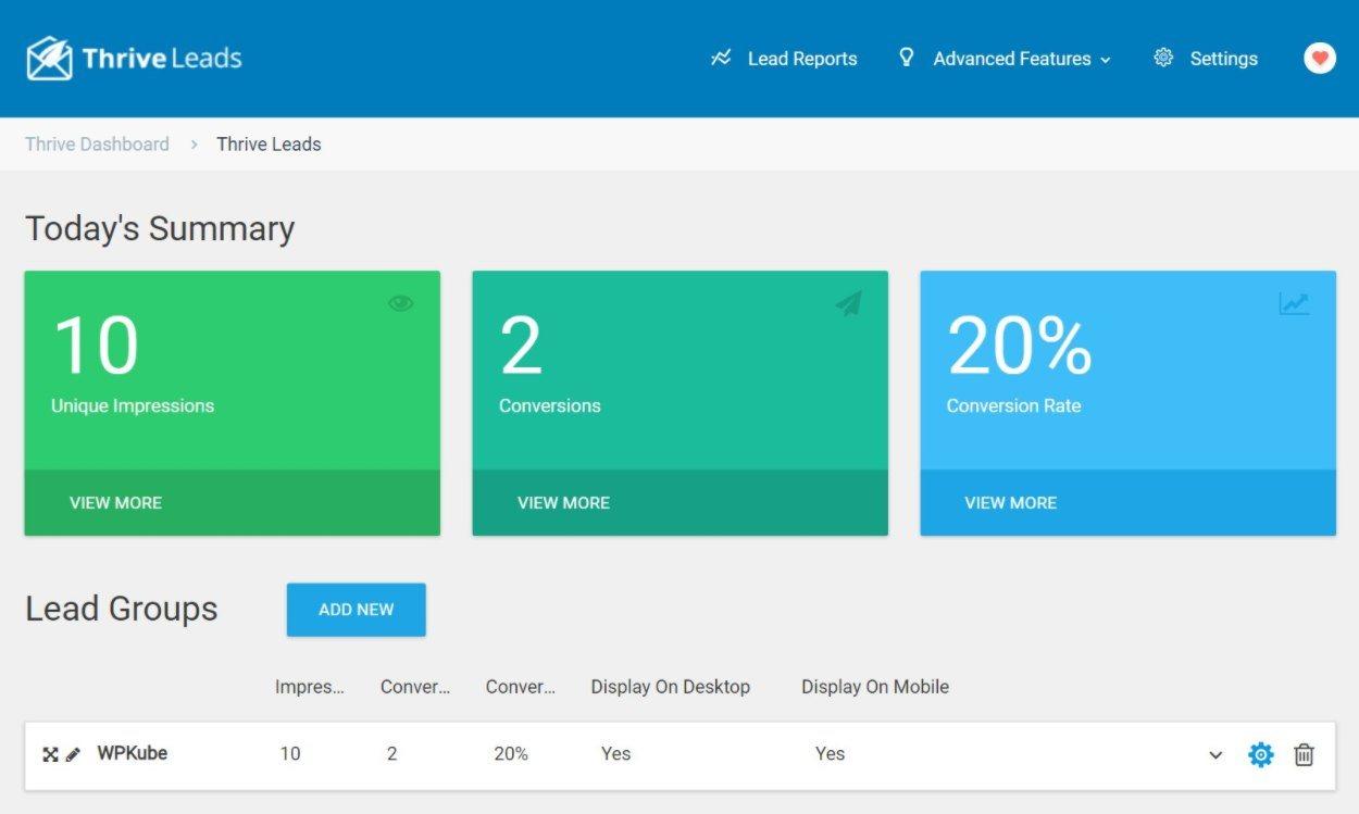 Thrive Leads analytics