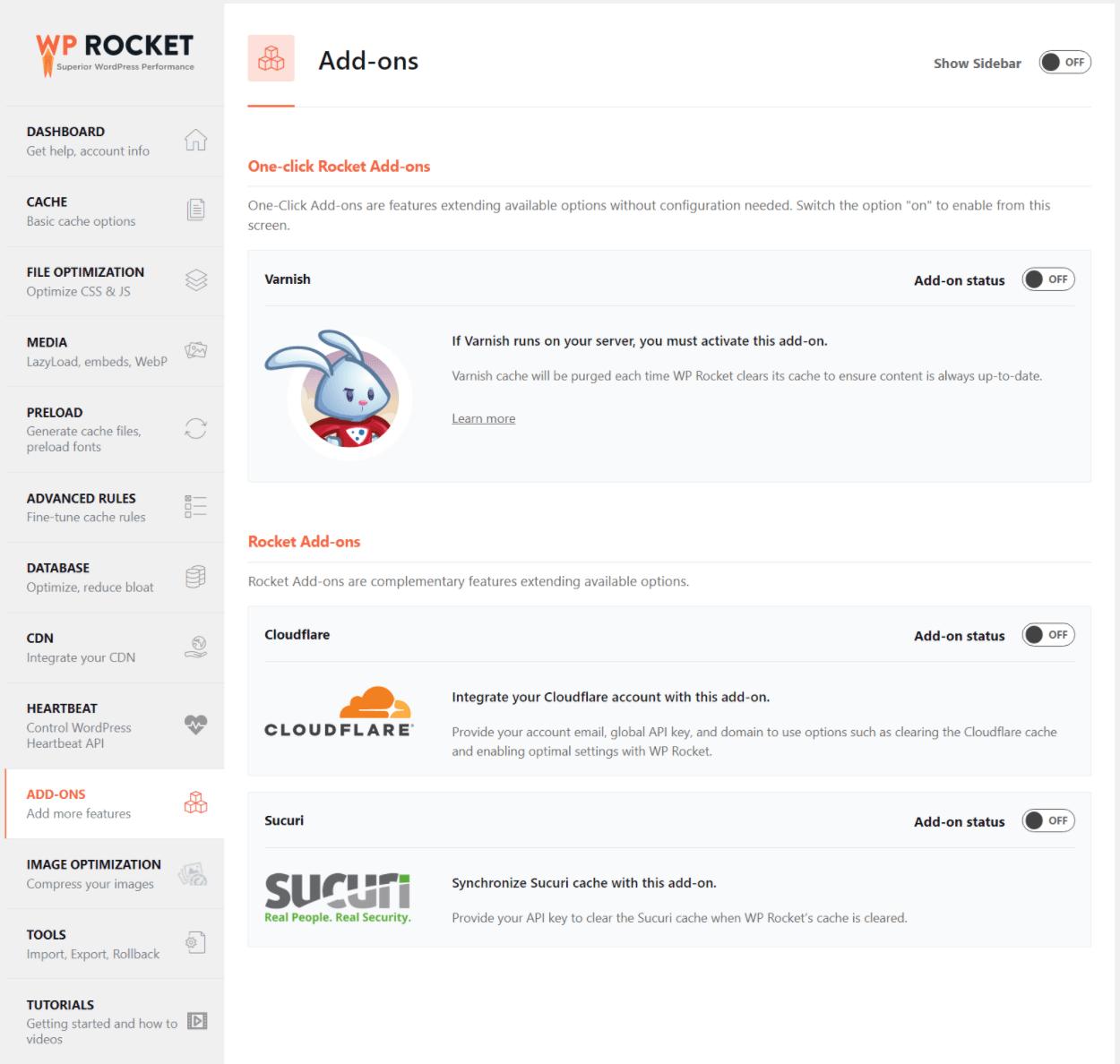 WP Rocket add-ons