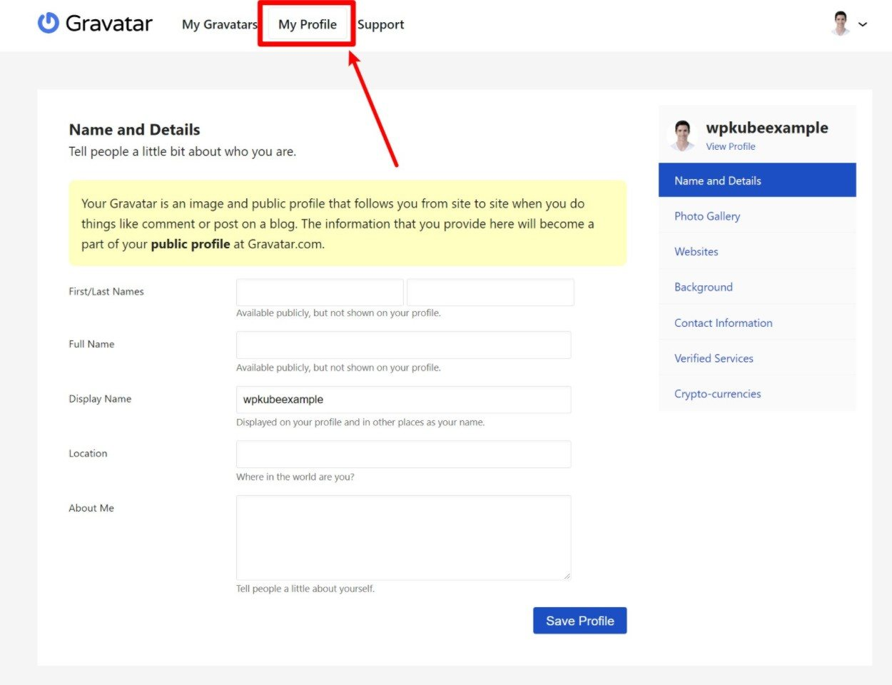 How to add profile details