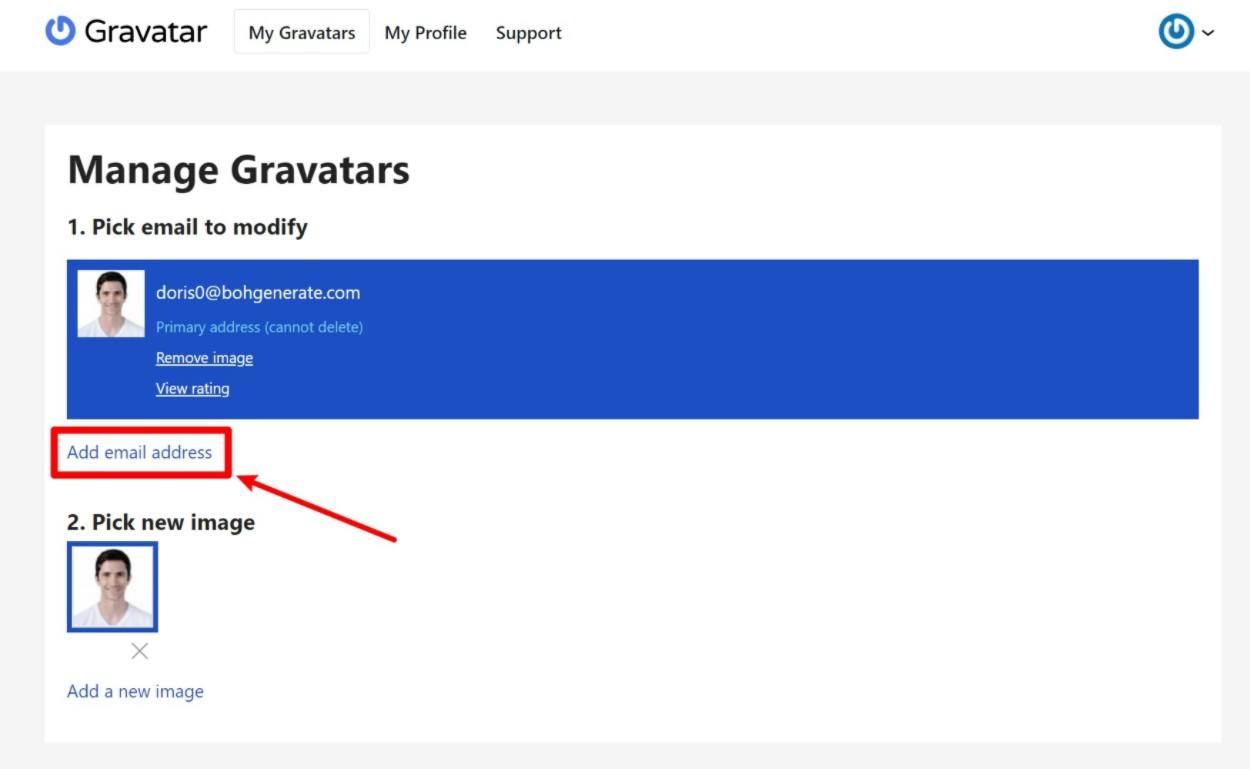How to add a new Gravatar email address