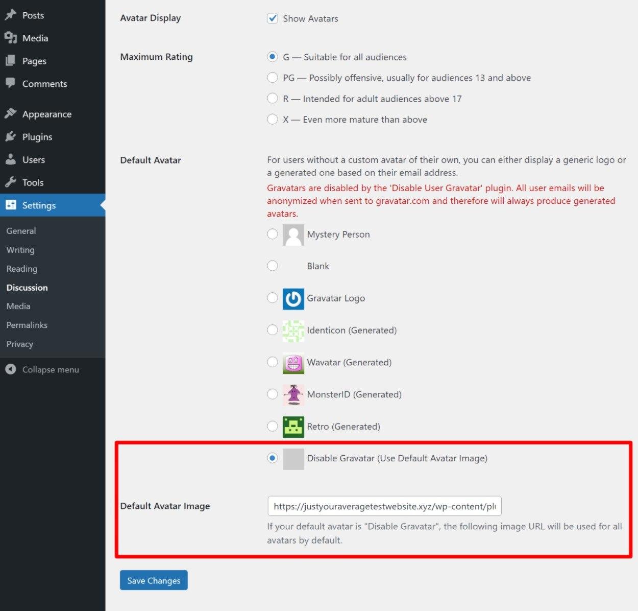 Disable WordPress Gravatar