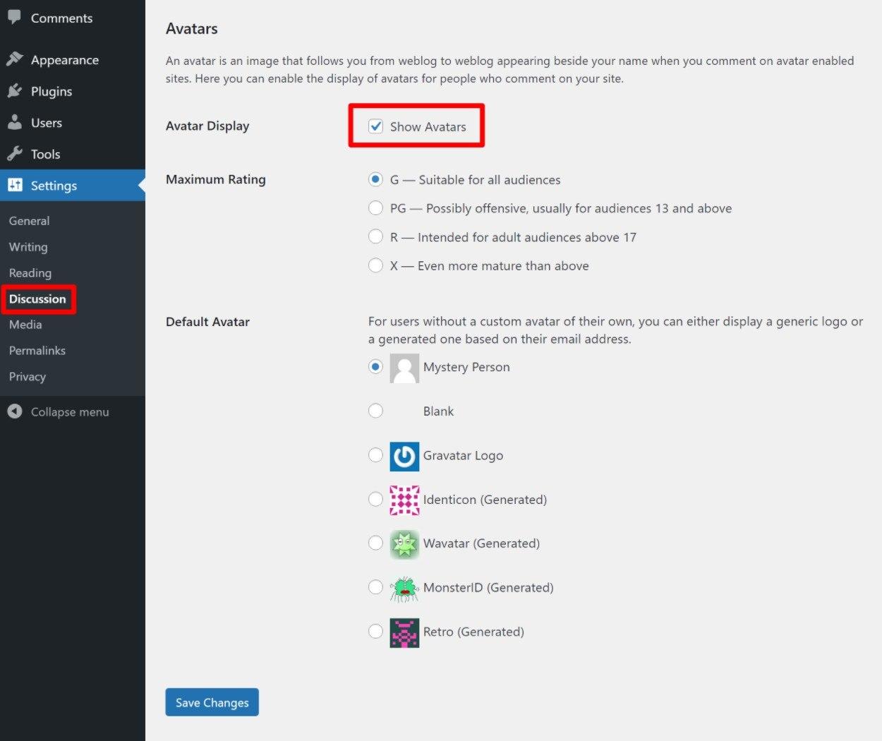 Hide avatars on WordPress